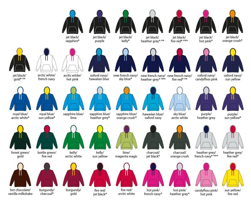 College Hoodie Colours